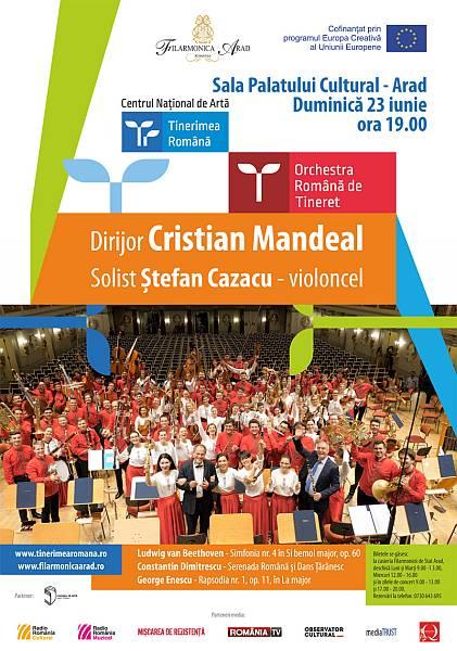 Orchestra Română de Tineret dirijată de Cristian Mandeal în concert la Arad